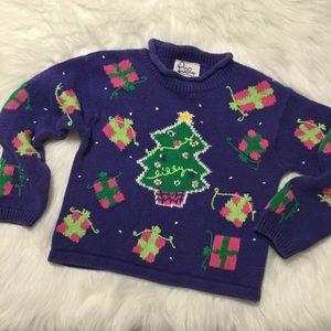 LILLY PULITZER Christmas Sweater Purple & Pink sz4